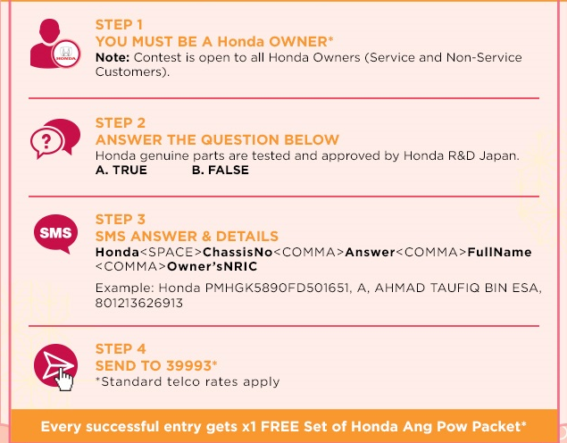Honda sms now & win procedure step
